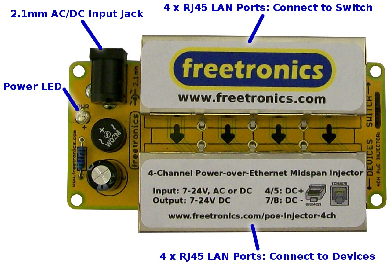 4 Channel Power Over Ethernet Midspan Injector Double Sided Poe Electronic Product Design